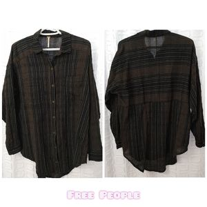 Free People striped oversized button up shirt XS